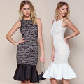 GZDL New Sexy Lace Floral Sleeveless Ruffles Hem Midi Wrap Prom Party Mermaid Bodycon Cocktail Elegant  Mermaid Dress CL2475