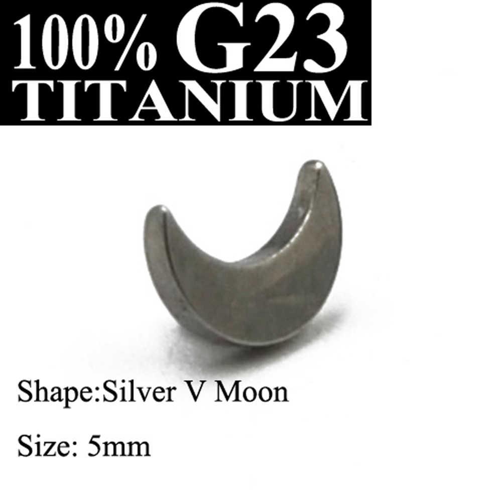 1Pc G23 כיתה טיטניום כסף זהב כוכב וירח & לב Dermal עוגן למעלה מיקרו עורי נהגים משטח פירסינג גוף תכשיטים