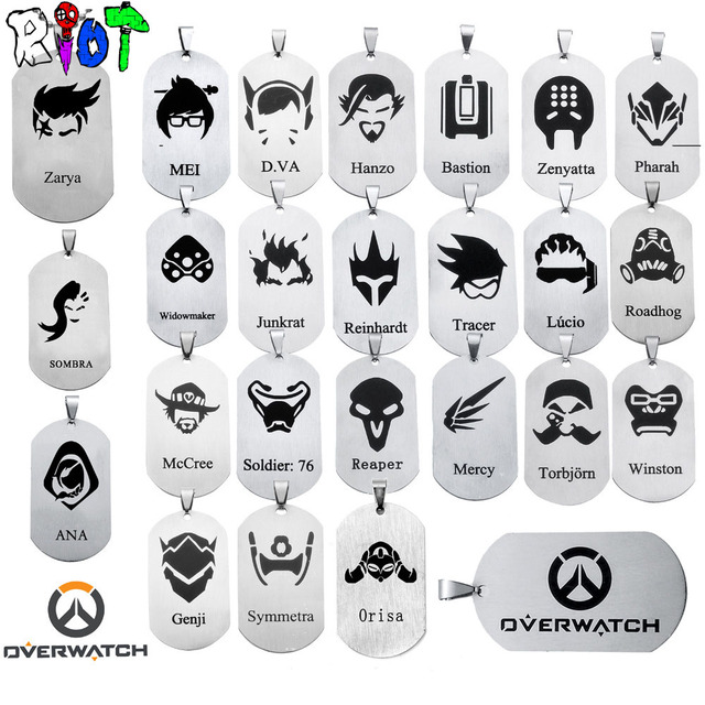 24 types OW Pendant Necklace dog tag All heroes logo tracer reaper widowmaker Ha