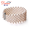 DAIMI Charming Many Row Web White Fresh Water Pearl Bracelet, Wedding Party Jewelry Graceful Bracelet Handmade Bracelet