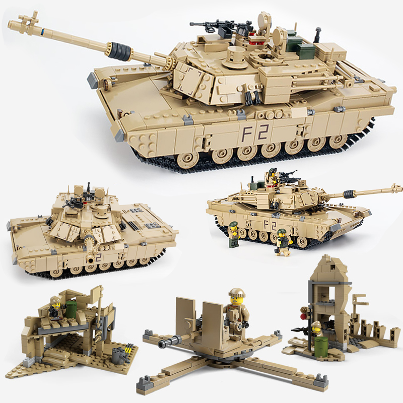 2018 Abrams M1A2 Tanks Sets Military US Army World War 2 Ww2 Cannon Hummer Kits Building Blocks Toys Children Gift new century military m1a2 abrams tank cannon deformation hummer cars building blocks bricks figures toys for children