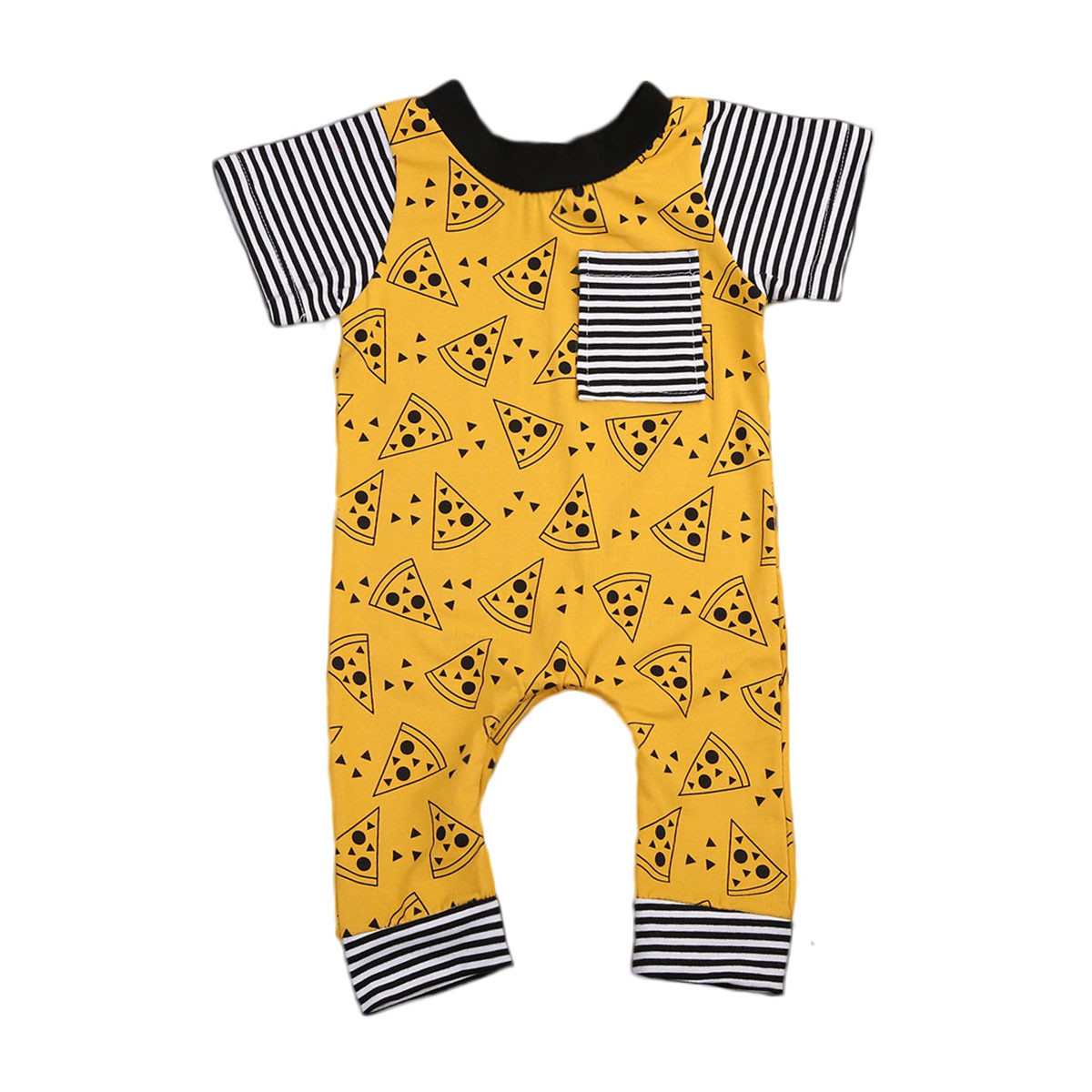 Short Sleeve Baby Boy Girls Cotton   Romper   Jumpsuit Pizza Printing Lovely Children Summer Outwear Clothes Cotton Outfits