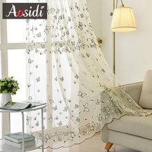White butterfly embroidery tulle for the living room bedroom blue organza sheer window curtains embroidered lace voile curtains
