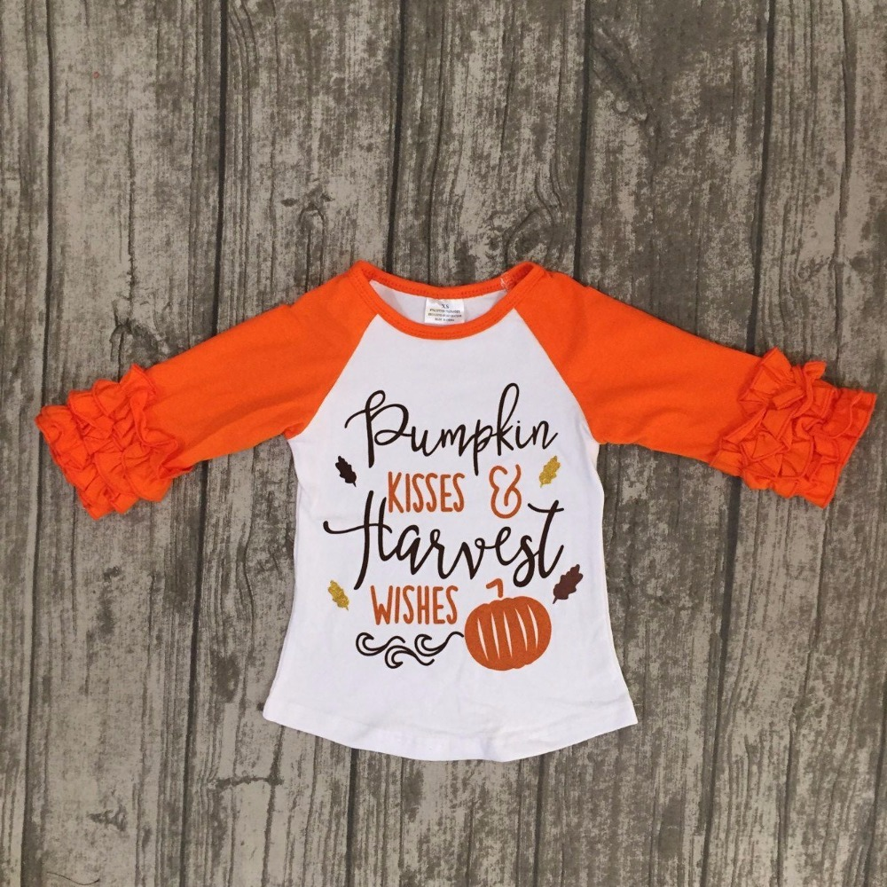 Fall baby girls pumpkin kisses wishes boutique top t-shirts children clothes orange icing sleeve cotton top raglans kids wear juqi pumpkin style cotton clothes for pet dog orange s