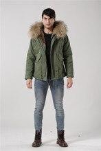 Hot sale male faux rabbit fur coats Italy desgin faux fur jackets men short parka with big raccoon furs collar