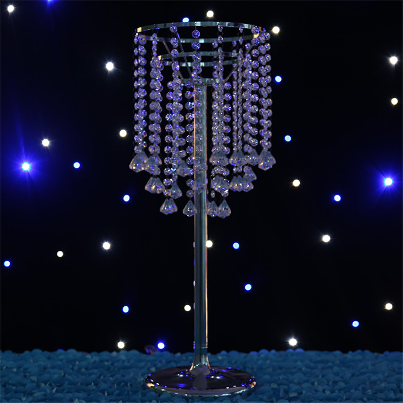 wedding decoration crystal table centerpieces three layer metal crystal pillars weddings decoration party event birthday 70 cm