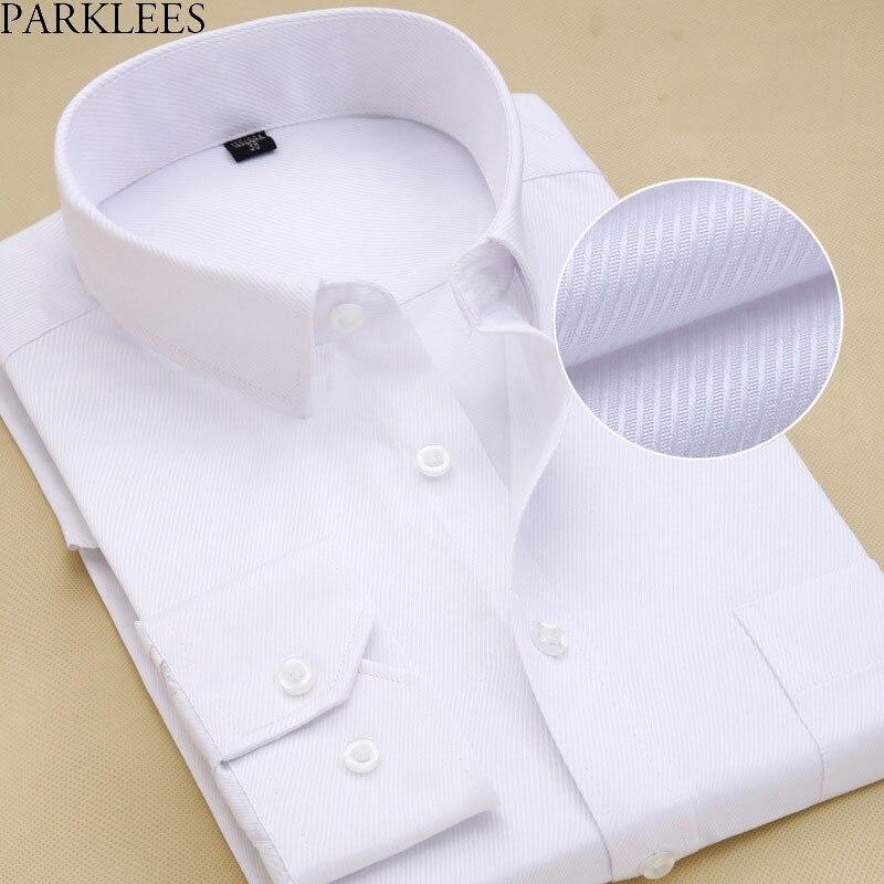 Men's Slim Fit Spread Collar White Drees Shirt 2018 Brand New Cotton High-quality Chemise Formal Social Office Shirt For Men 8XL