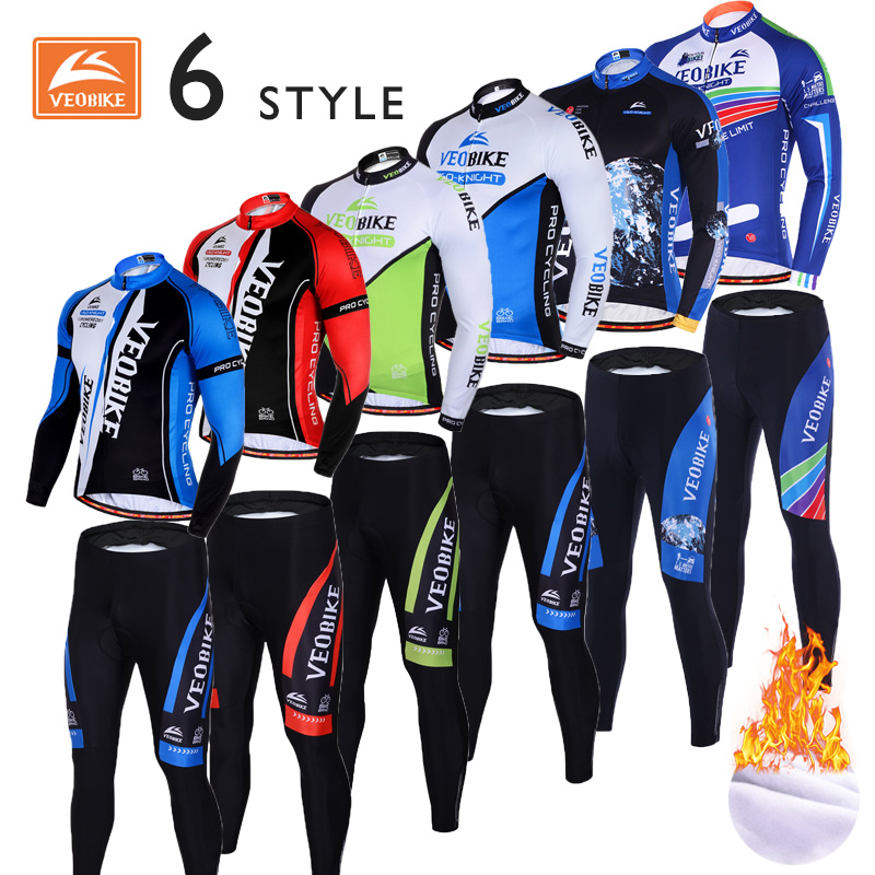 Veobike 2017 New Long sleeve Cycling jersey Winter Thermal Fleece Men Set 6 Style Pro team Bicycle clothes set Mtb Ropa Ciclismo veobike cycling jersey ciclismo 2017 pro team 8 style men s winter long sleeve bike set mtb bicycle wear ropa ciclismo invierno