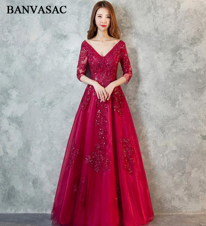 BANVASAC V Neck Sequined 2018 Long   Evening     Dresses   Elegant Party A Line Lace Embroidery Open Back Prom Gowns