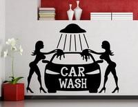 Car Wash Wall Sticker Sexy Girls Car Washing Logo Auto Service Vinyl Decal Home Interior Decoration Waterproof Wall Decals