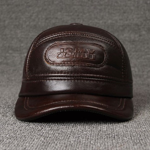 Image 3 - SILOQIN 調整可能なサイズのメンズ 100% 本革キャップ冬暖かい野球イヤーマフ牛革革帽子とキャップ男性