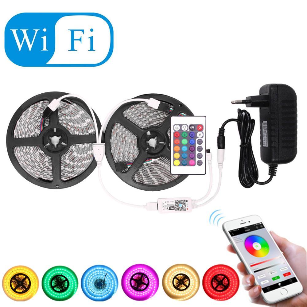 5050 RGB LED Strip Waterproof Wifi Ir 12v Tira LED RGB Light Strip Flexible Neon Tape Controller Fita Car Ruban Bande