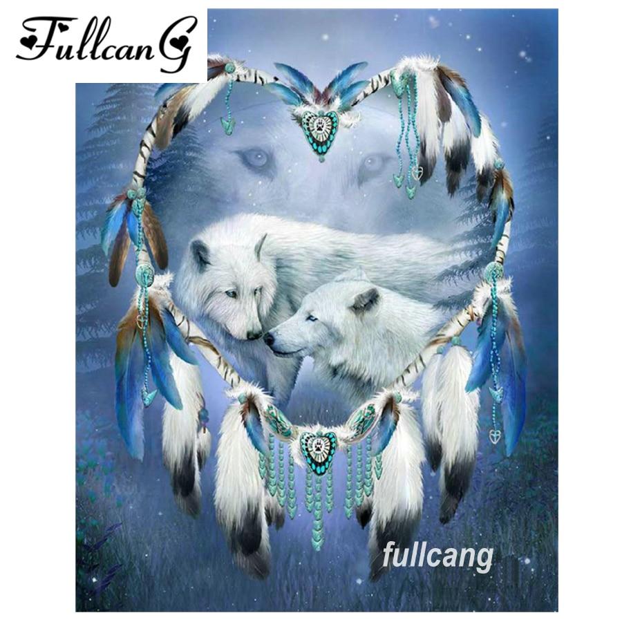 FULLCANG diy diamond painting couples wolf animals mosaic 5d cross stitch full square diamond embroidery kits home decor G111