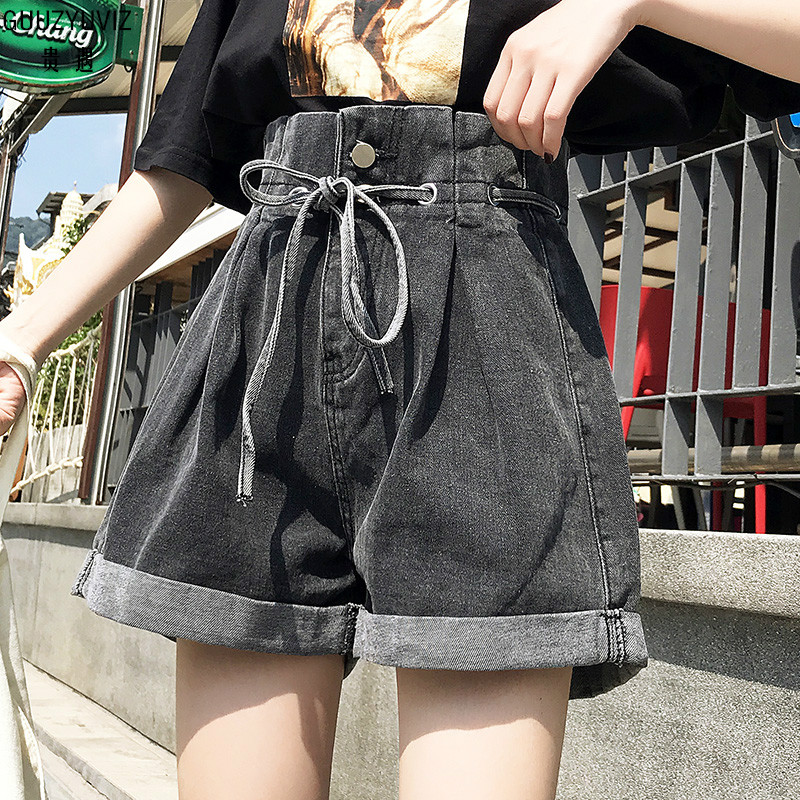GUUZYUVIZ Casual Denim Shorts Vintage High Waist Jeans Woman Plus Size Wide Leg Pants Mjuer Loose Jean Shorts Women Summer 2019