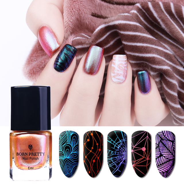 BORN PRETTY 6ml Rose Gold Chameleon Stamping Polish Colorful Nail ...