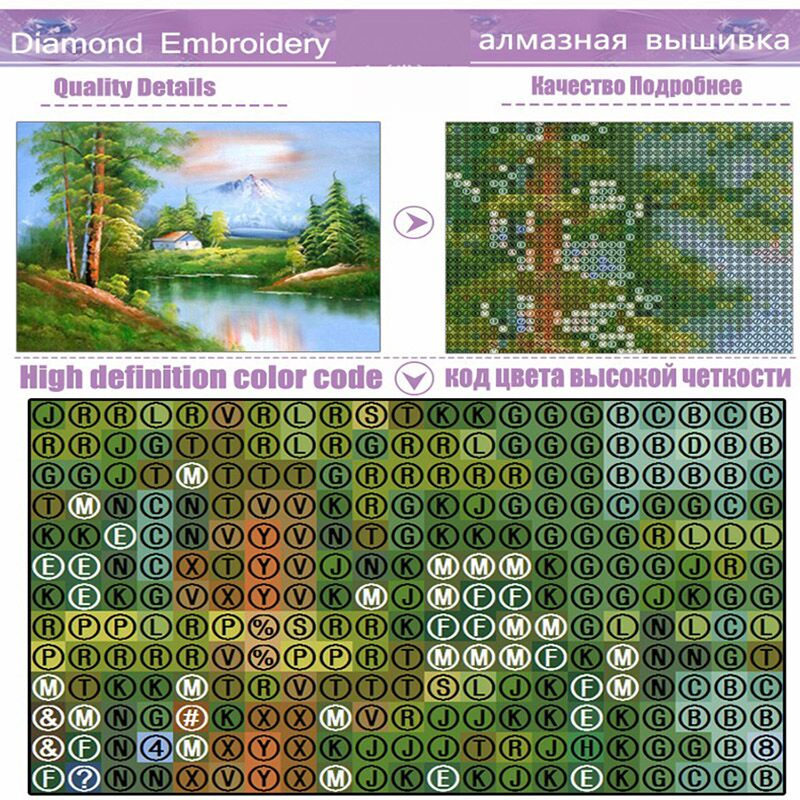 Landscape Autumnhouse river tree picture 5D Round crystal Cross Stitch Diamond Embroidery mosaic pattern home decor in Diamond Painting Cross Stitch from Home Garden