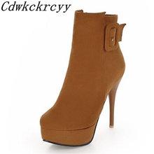 Женские ботинки новые модные зимние на тонком каблуке с круглым