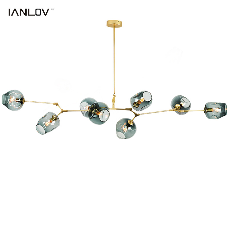 IANLOV Modern chandeliers <font><b>lights</b></font> for living room restaurant black gold branches pendant lamp glass ball adjust angle design