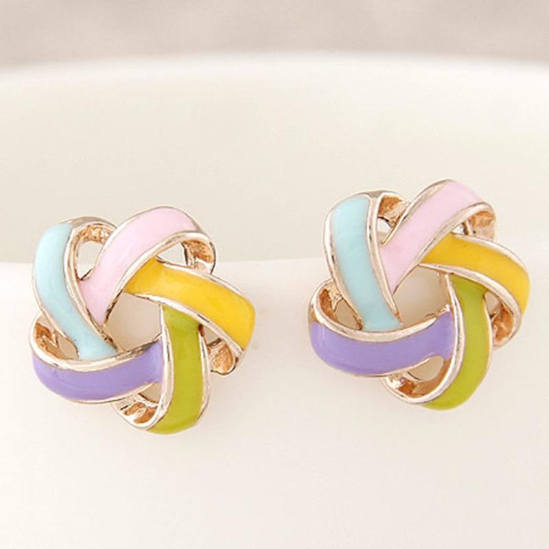 2016 Fine Jewelry Earrings for Women Fashion Pendientes Bijoux Eanmel Flower boucle doreille femme Accessory Stud Brincos