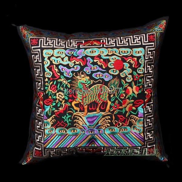 Полная вышивка Кирин чехлы для диванов китайские декоративные подушки высокого класса винтажные этнические рождественские наволочки 45x45