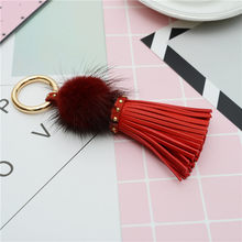 Leather Tassels With Mink Fur Ball Key Chain With One Tassels For Car Keychain Bag Key Ring Jewelry EH812(China)