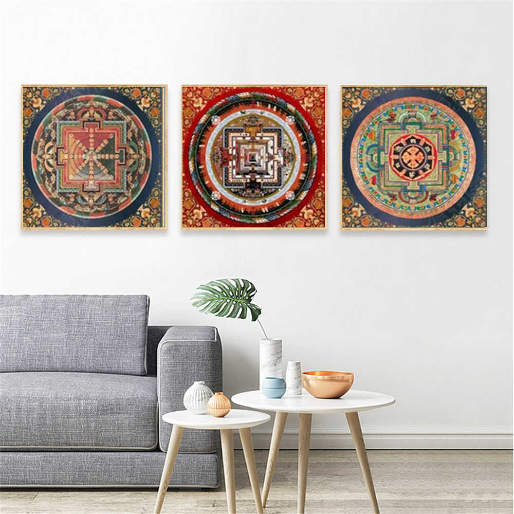 Original Tibetan Buddhist Mandala Thangka Decorative Home Decor For Living Room Wall Art Pictures Posters And Prints Artwork