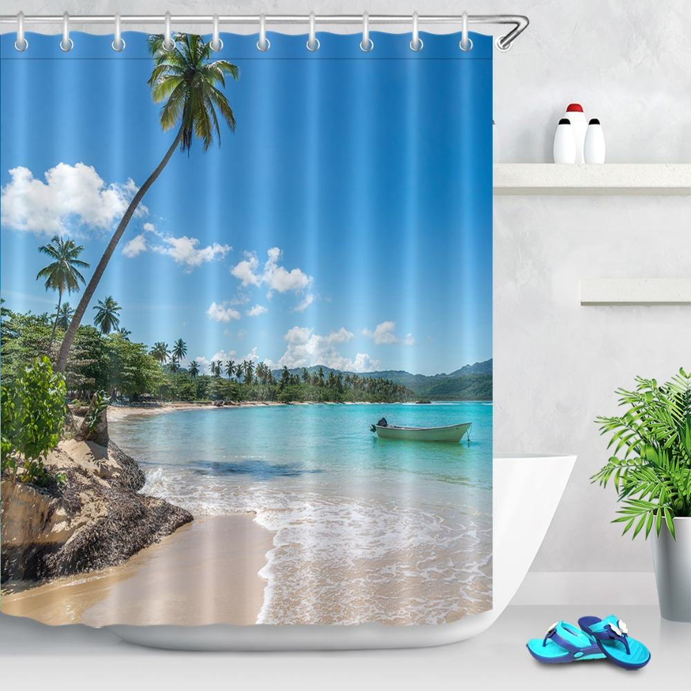 Old Wooden Boat Waterproof Polyester Fabric Bathroom Out Window Shower Curtain
