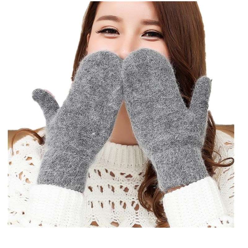 YRRETY Fashion Women Girl Winter Gloves Pure Color Rabbit Fur Mittens Soft Warm Candy Color Double Layer Female Gloves Hot Sale