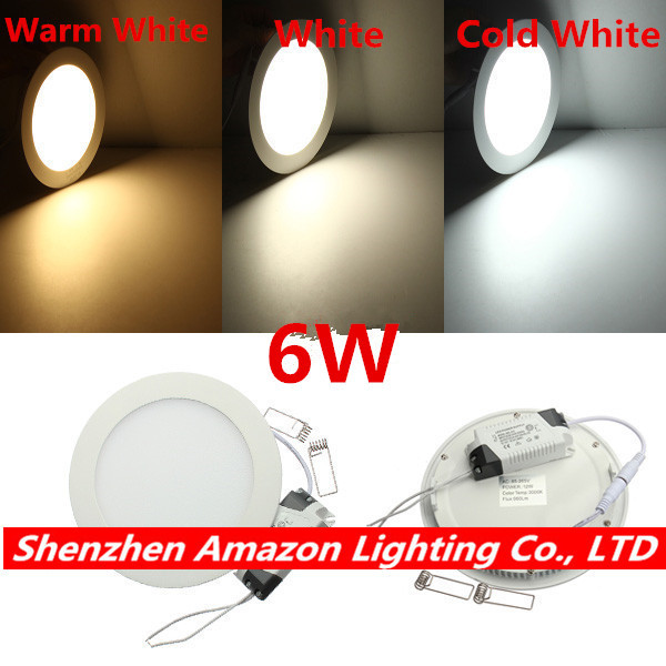1pc 6W Recessed LED Ceiling Light Round Panel Light Spot Down Light with driver AC85-265V Warm White/Natural White/Cold White