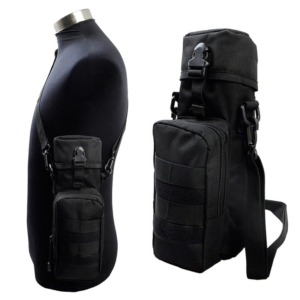 Hiking Camping Water Bottle Kettle Holder Belt Pouch Nylon Bag+Shoulder Strap