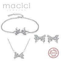 Strik Oorbellen Ketting Armband Sieraden Sets Voor Vrouwen, 925 Stempel Zilveren Sieraden met CZ Charm voor Meisjes minnaar Gift DS004