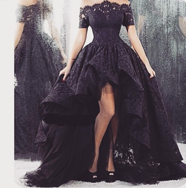 Evening Gown High Front And Low Back Lace Appliques Off The Shoulder Short Sleeve Black 2018 Vestido Mother Of The Bride Dresses