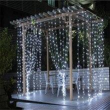 2016 3 M x 3 M 300 LED Blanco Cálido Hogar Al Aire Libre Decorativo Cortina Guirnaldas de navidad de Hadas Cadena de navidad Luces de Fiesta Para boda