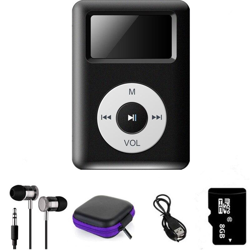 Mini Clipe MP3 Player com Micro TF/SD Slot Para Cartão de Esportes MP3 Music Player + USB Linha De Dados + fone de ouvido Esporte + Caixa De Armazenamento + Memória cartão