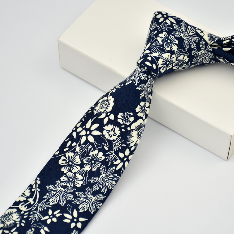 100% Cotton Skinny 6 Cm Flower Neck Tie High Floral Ties For Men Slim Cravat Neckties Mens Gravatas Vestidos Wedding