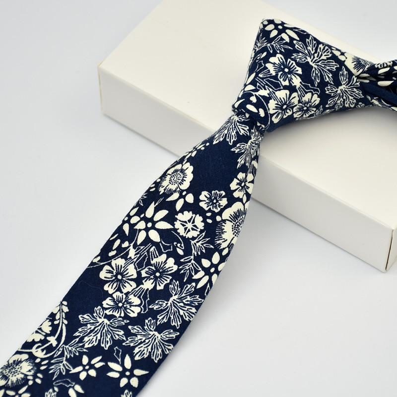 100% Cotton Skinny 6 Cm Flower Neck Tie High Floral Ties For Men Slim Cravat Neckties Mens Gravatas Vestidos Wedding