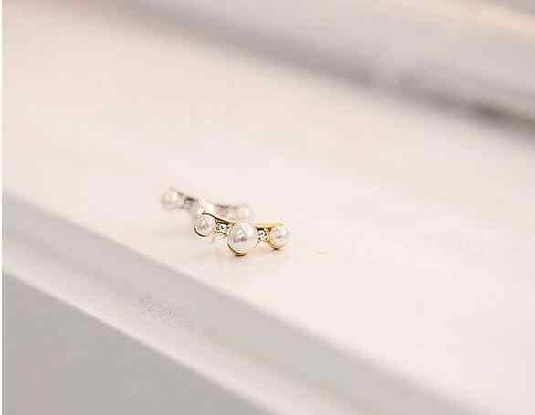 New Coreano criativo brincos Best selling curvo pérola do parafuso prisioneiro brincos de cristal senhoras selvagem jóias ear jóias venda direta da fábrica