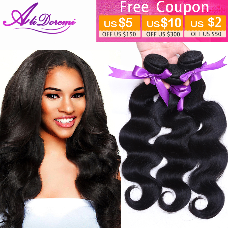 AliDoremi Hair Brazilian Virgin Hair Body Wave, 3bundles Unprocessed Virgin Human Hair Weave, 1B# Brazilian Body Wave Virgin Hair
