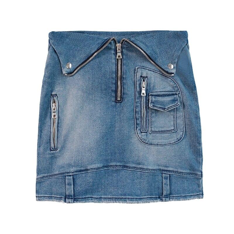 Mode Haute Jupe Femelle Jupes Denim Hanche 2019 New D'été Custom Poches gqnw4Y