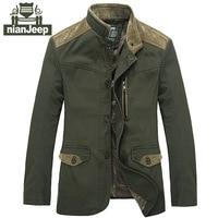 NIANJEEP merk kleding jas mannen legergroen & zwart plus size m-xxxl jassen heren jas puur katoen casual mannen jas