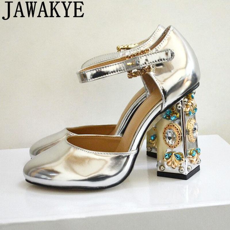 33efa6c43db04 Gold silver mirror leather Women Pumps rhinestone jewelled High Heels metal  flower crystal wedding Shoes summer