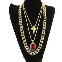 3PCS Hip Hop Gold Color Necklaces Set Angel Pendant Geometric Square Dog Tage 30inch Cuban Link Chain for Men Rapper Jewelry