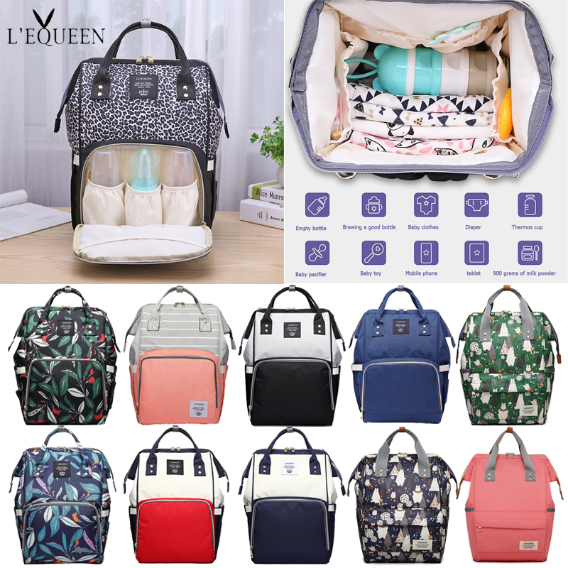 LEQUEEN Mummy Maternity Diaper Bags Baby Care Large Capacity Nursing Zip Backpack Designer Stroller Baby Bag Diaper Backpack