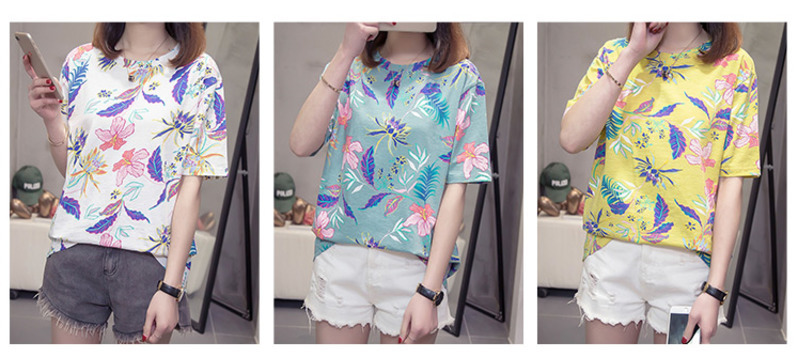 Nkandby Flower Print Summer T-shirt For Woman Fashion Casual Short sleeve Ladies Tshirt 2019 New Bamboo Plus size Basic Tops 4XL 9