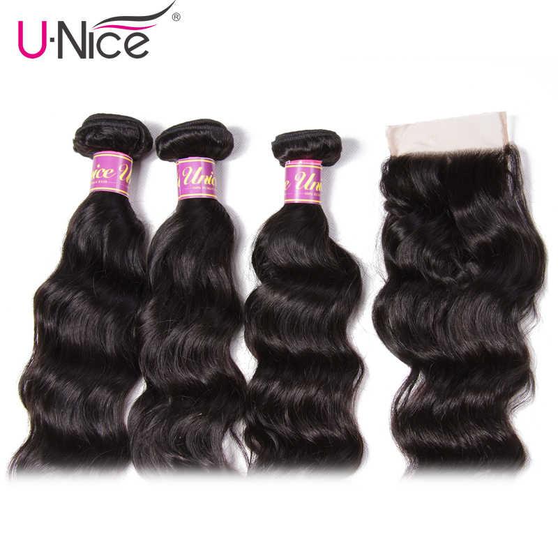 UNice Hair Icenu Remy Hair Series Natural Wave Brazilian Hair Weave Bundles Lace Closure 4 PCS Human Hair Bundles With Closure