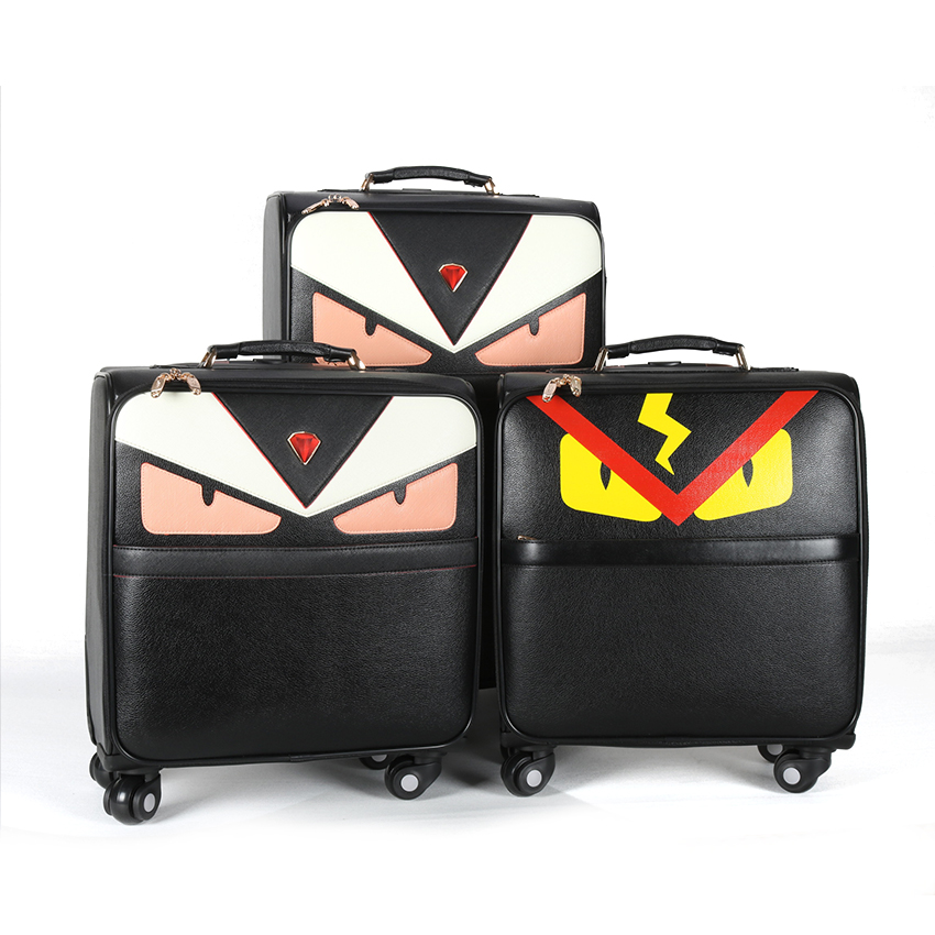 """16""""20""""24"""" Monster PU leather carry-on trolley case travel suitcase with wheels cabin Rolling luggage bag for girls women valise"""