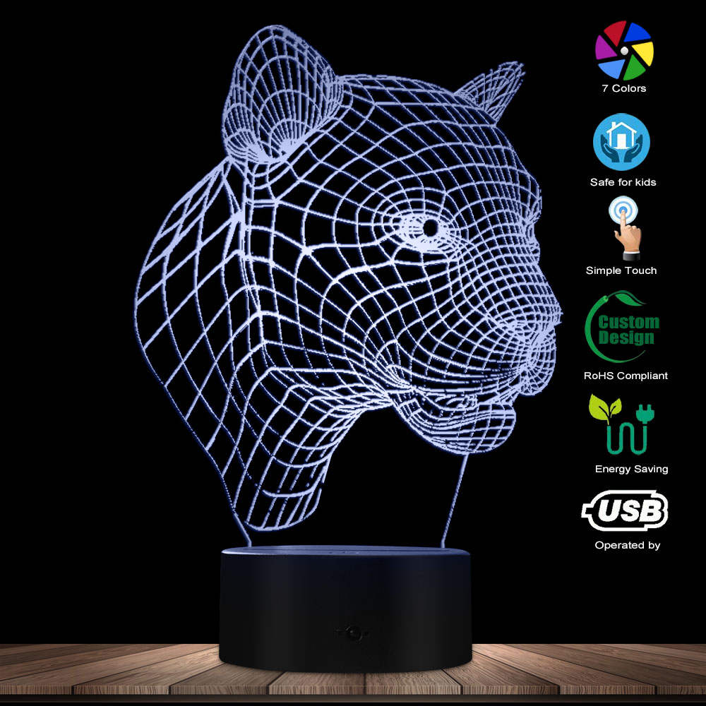 Leopard 3D Effect Multicolor Led Optical Vision Panther Desk Illusion Lamp Party Decoration Novelty LED Night Light USB Charging