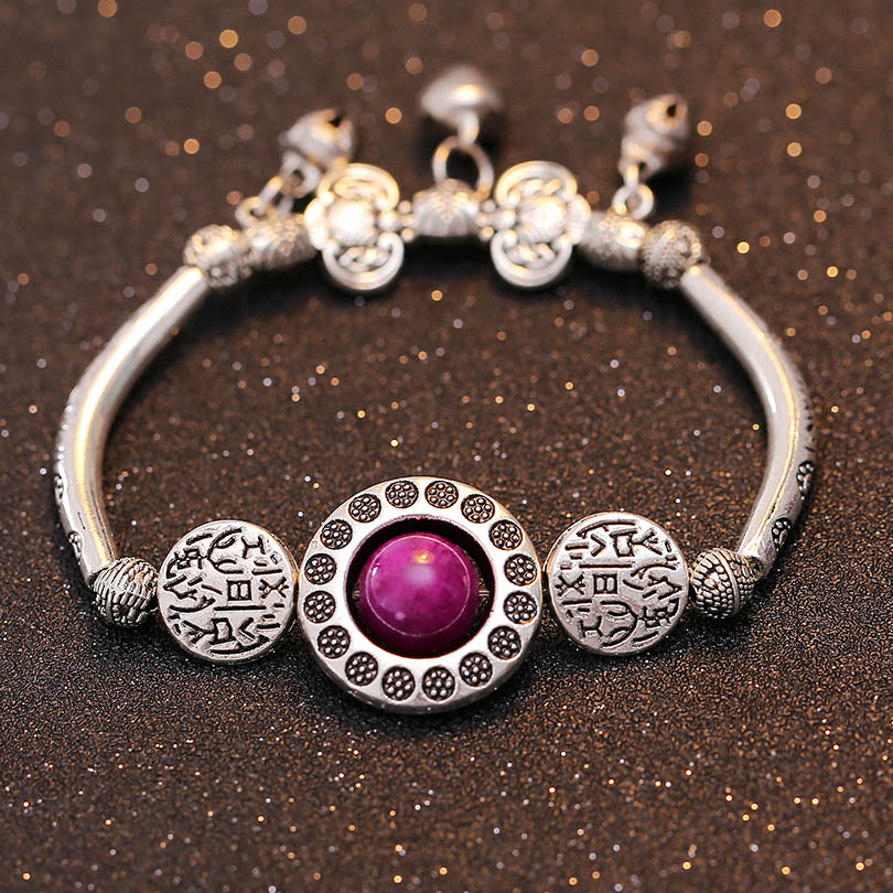 TDQUEEN Charms Bracelets For Women Wicca Rune Tibetan Jewelry Antiqued Silver Stone Beads Bell Vintage Boho Elastic Wristband