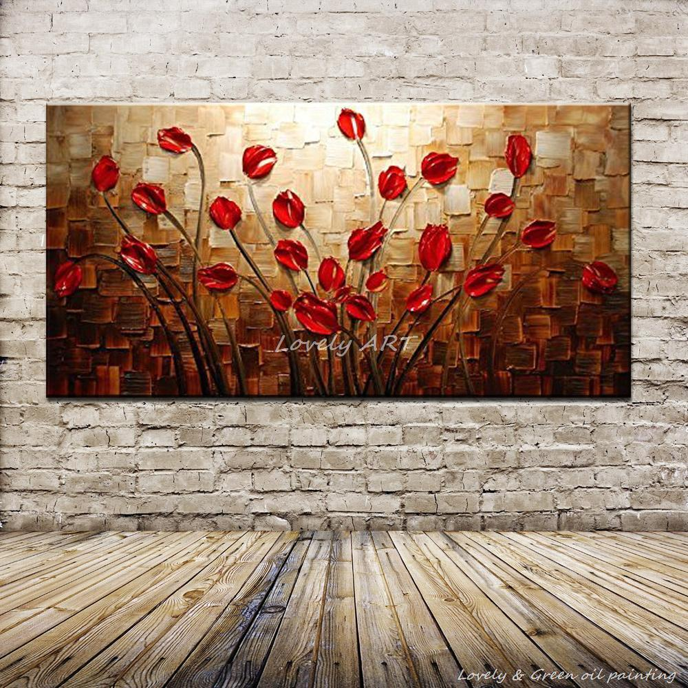 Latest wall paint texture designs for living room - 100 Hand Painted Textured Palette Knife Red Flower Oil Painting Abstract Modern Canvas Wall Art