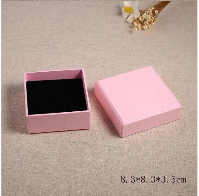 02 17 8 3 8 3 3 5cm Jewelry Earring Bracelet Ring Gift Boxes Pink Square Carton Case With Sponge In Gift Bags Wrapping Supplies From Home Garden